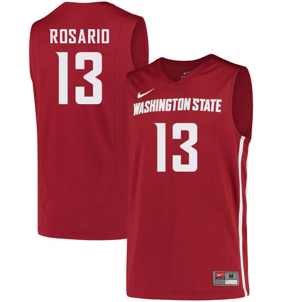 Men #13 Carlos Rosario Washington State Cougars College Basketball Jerseys Sale-Crimson