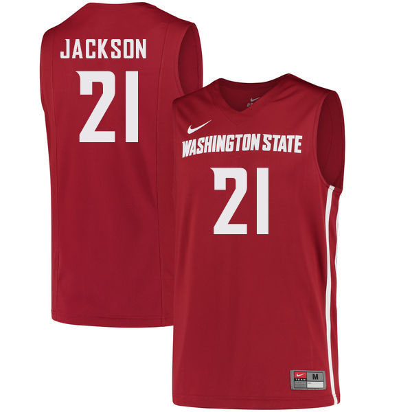 Men #21 Dishon Jackson Washington State Cougars College Basketball Jerseys Sale-Crimson