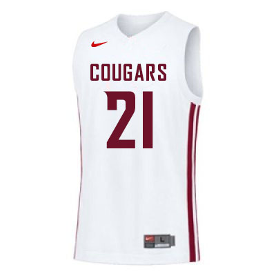 Men #21 Dishon Jackson Washington State Cougars College Basketball Jerseys Sale-White