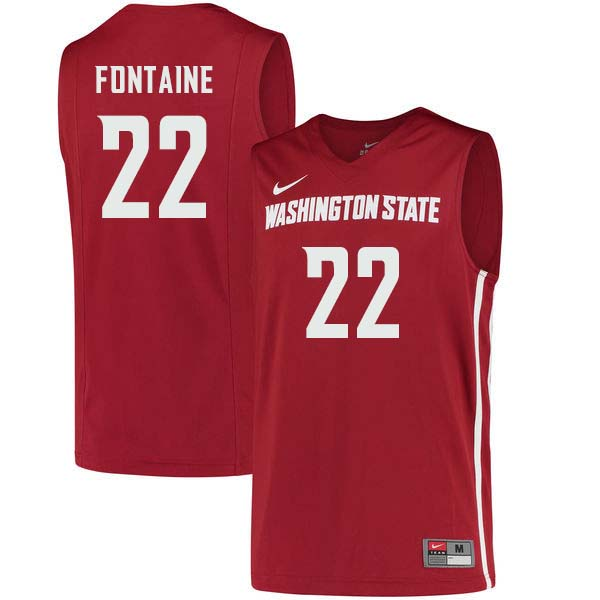 Men #22 Isaac Fontaine Washington State Cougars College Basketball Jerseys Sale-Crimson - Click Image to Close