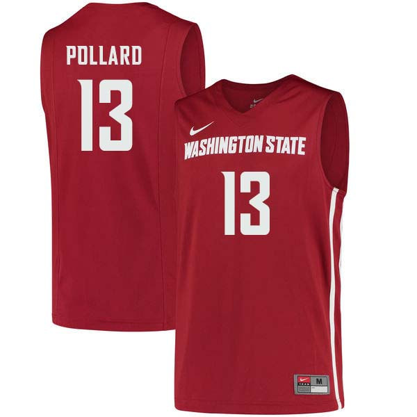 Men #13 Jeff Pollard Washington State Cougars College Basketball Jerseys Sale-Crimson