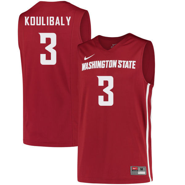 Men #3 Jefferson Koulibaly Washington State Cougars College Basketball Jerseys Sale-Crimson