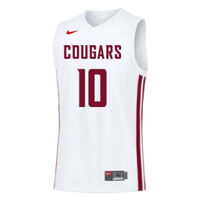 Men #10 KJ Langston Washington State Cougars College Basketball Jerseys Sale-White