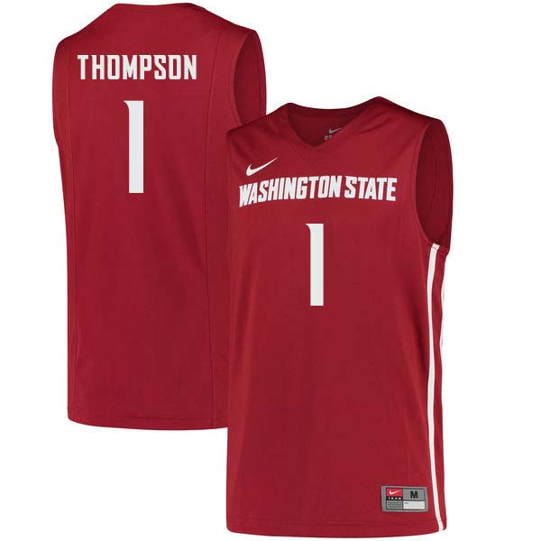 Men #1 Klay Thompson Washington State Cougars College Basketball Jerseys Sale-Crimson