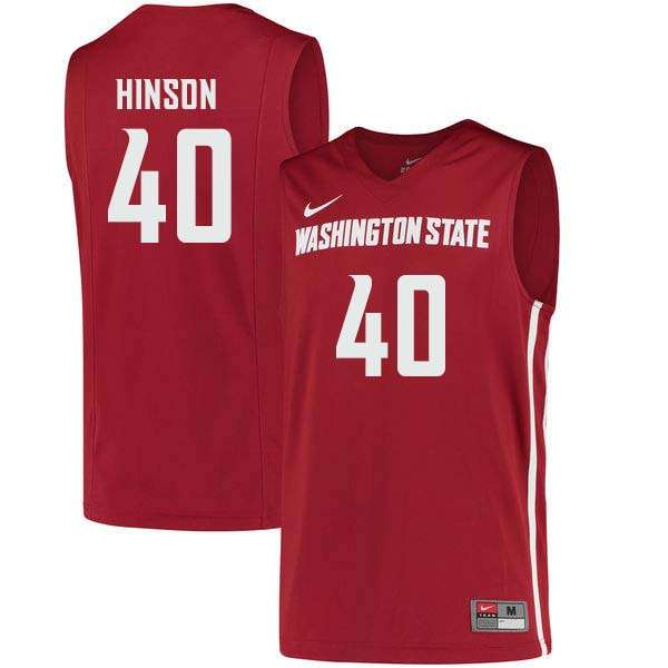 Men #40 Kwinton Hinson Washington State Cougars College Basketball Jerseys Sale-Crimson