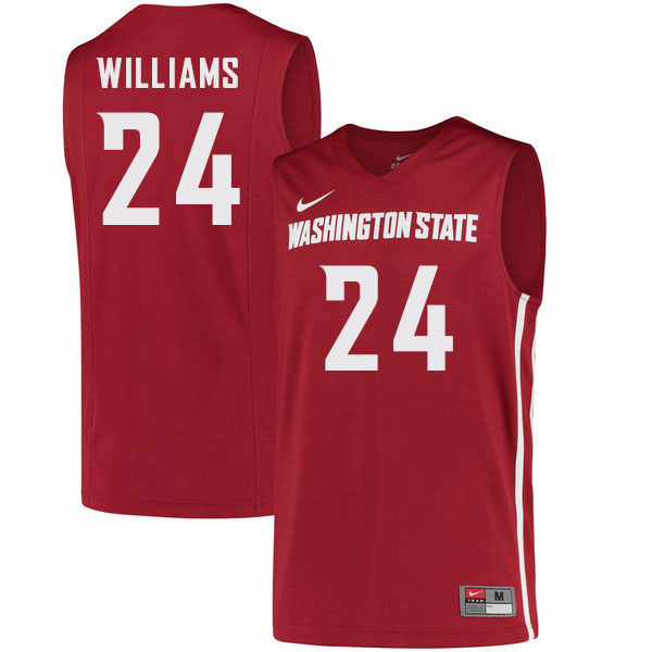 Men #24 Noah Williams Washington State Cougars College Basketball Jerseys Sale-Crimson