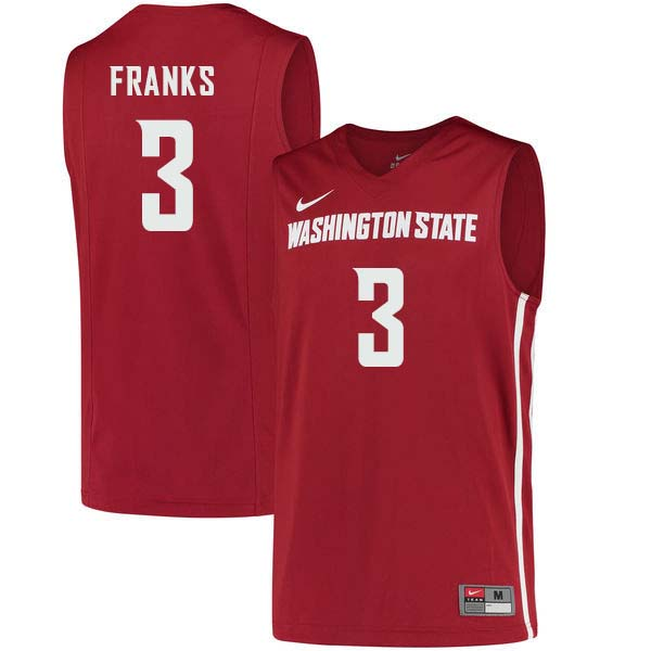 Men #3 Robert Franks Washington State Cougars College Basketball Jerseys Sale-Crimson