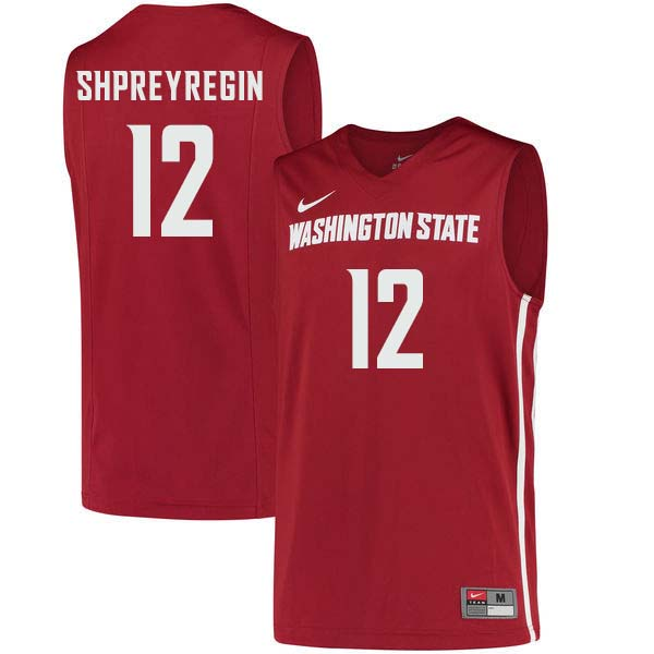 Men #12 Steven Shpreyregin Washington State Cougars College Basketball Jerseys Sale-Crimson