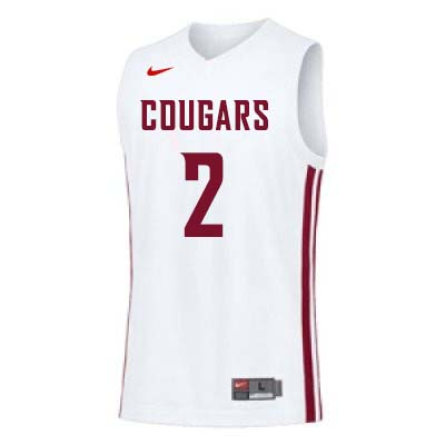 Men #2 TJ Mickelson Washington State Cougars College Basketball Jerseys Sale-White
