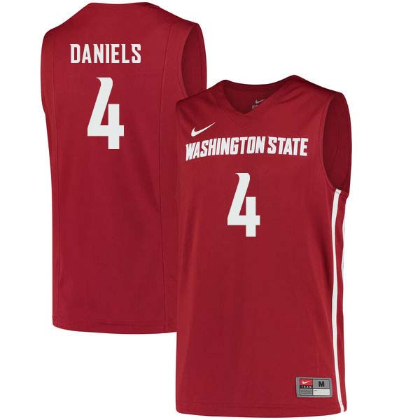 Men #4 Viont'e Daniels Washington State Cougars College Basketball Jerseys Sale-Crimson
