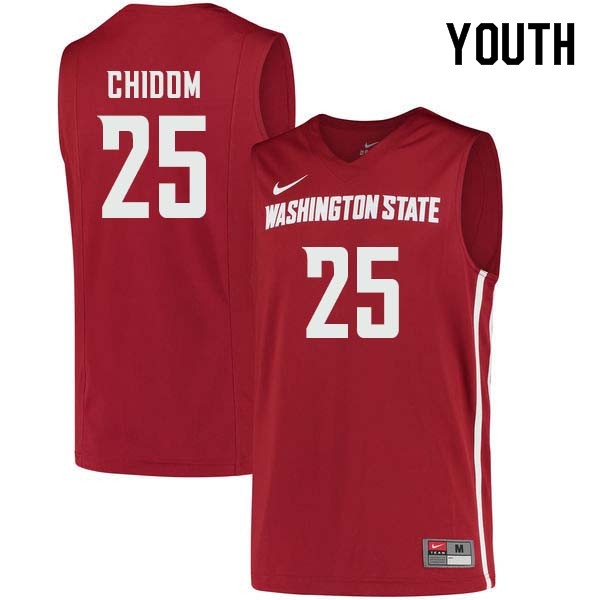 Youth #25 Arinze Chidom Washington State Cougars College Basketball Jerseys Sale-Crimson