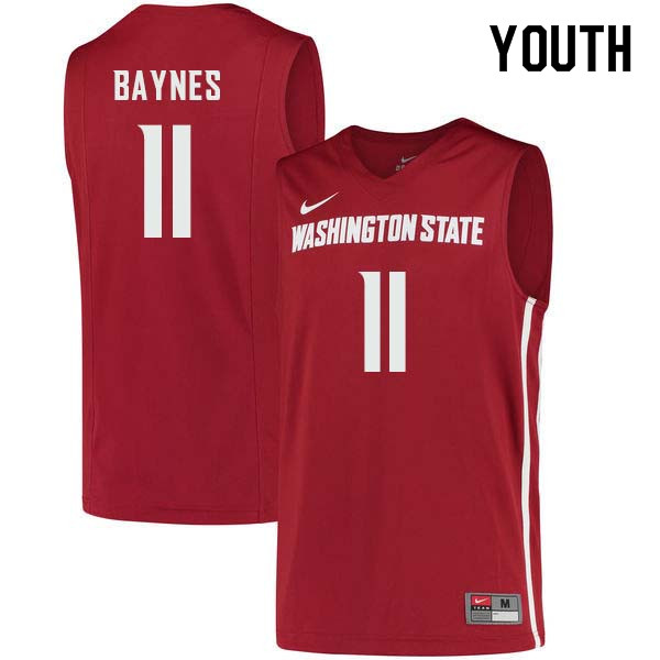 Youth #11 Aron Baynes Washington State Cougars College Basketball Jerseys Sale-Crimson