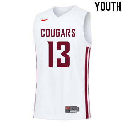 Youth #13 Carlos Rosario Washington State Cougars College Basketball Jerseys Sale-White
