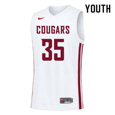 Youth #35 Carter Skaggs Washington State Cougars College Basketball Jerseys Sale-White