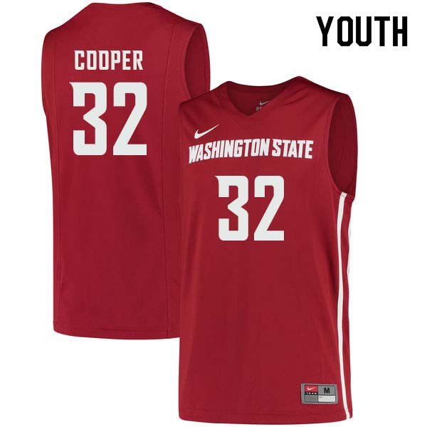 Youth #32 Davante Cooper Washington State Cougars College Basketball Jerseys Sale-Crimson