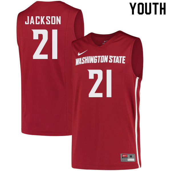 Youth #21 Dishon Jackson Washington State Cougars College Basketball Jerseys Sale-Crimson
