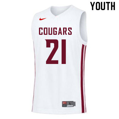 Youth #21 Dishon Jackson Washington State Cougars College Basketball Jerseys Sale-White