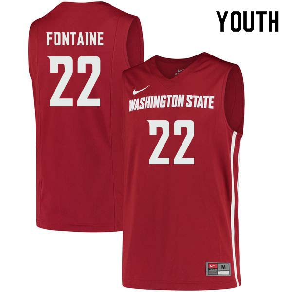 Youth #22 Isaac Fontaine Washington State Cougars College Basketball Jerseys Sale-Crimson