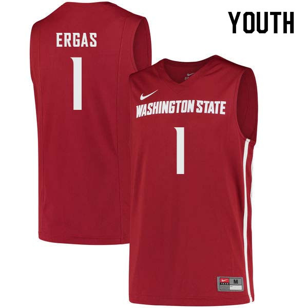 Youth #1 Jamar Ergas Washington State Cougars College Basketball Jerseys Sale-Crimson