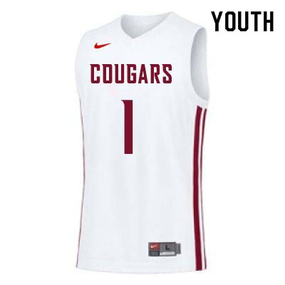 Youth #1 Jamar Ergas Washington State Cougars College Basketball Jerseys Sale-White