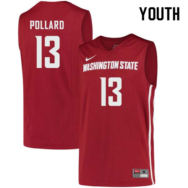 Youth #13 Jeff Pollard Washington State Cougars College Basketball Jerseys Sale-Crimson
