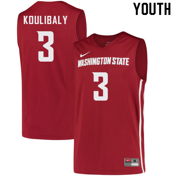 Youth #3 Jefferson Koulibaly Washington State Cougars College Basketball Jerseys Sale-Crimson