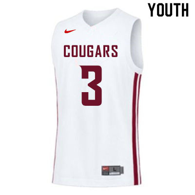 Youth #3 Jefferson Koulibaly Washington State Cougars College Basketball Jerseys Sale-White