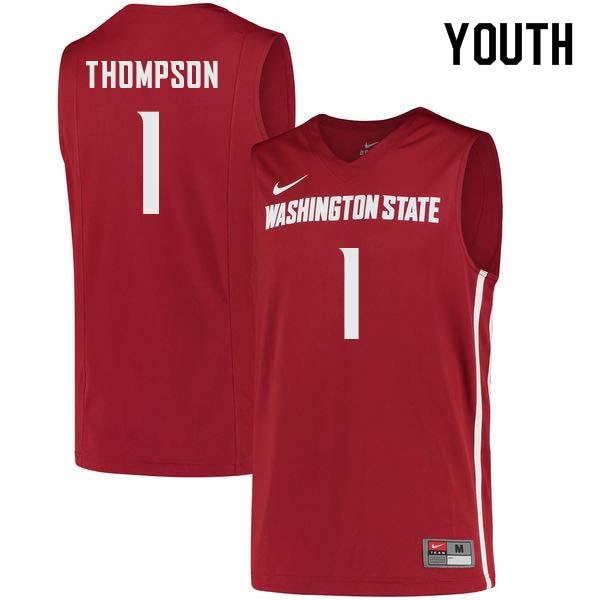 Youth #1 Klay Thompson Washington State Cougars College Basketball Jerseys Sale-Crimson