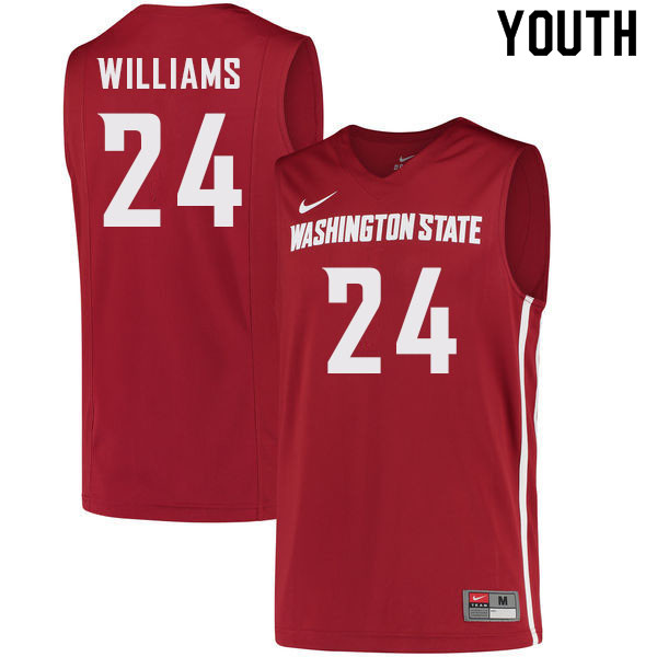 Youth #24 Noah Williams Washington State Cougars College Basketball Jerseys Sale-Crimson