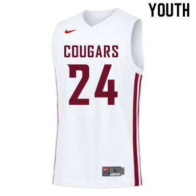 Youth #24 Noah Williams Washington State Cougars College Basketball Jerseys Sale-White