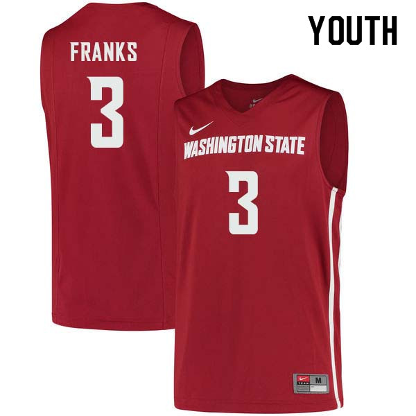 Youth #3 Robert Franks Washington State Cougars College Basketball Jerseys Sale-Crimson