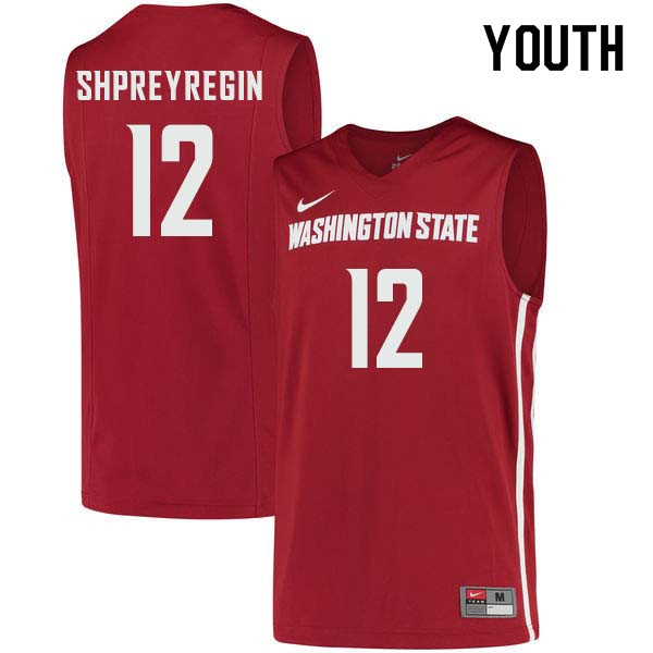 Youth #12 Steven Shpreyregin Washington State Cougars College Basketball Jerseys Sale-Crimson