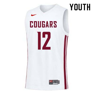 Youth #12 Steven Shpreyregin Washington State Cougars College Basketball Jerseys Sale-White