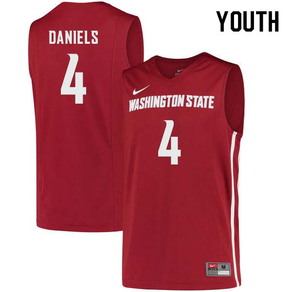 Youth #4 Viont'e Daniels Washington State Cougars College Basketball Jerseys Sale-Crimson